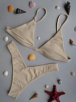 Модный бежевый раздельный купальник без чашек (чашки отдельной позицией) серии BEIGE