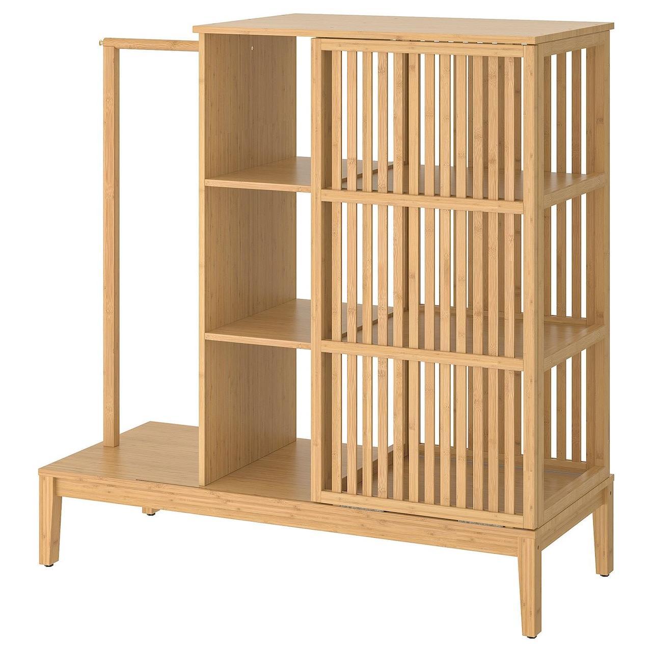 Открытый шкаф с раздвижными дверями IKEA NORDKISA бамбук 120x123 см 304.394.76