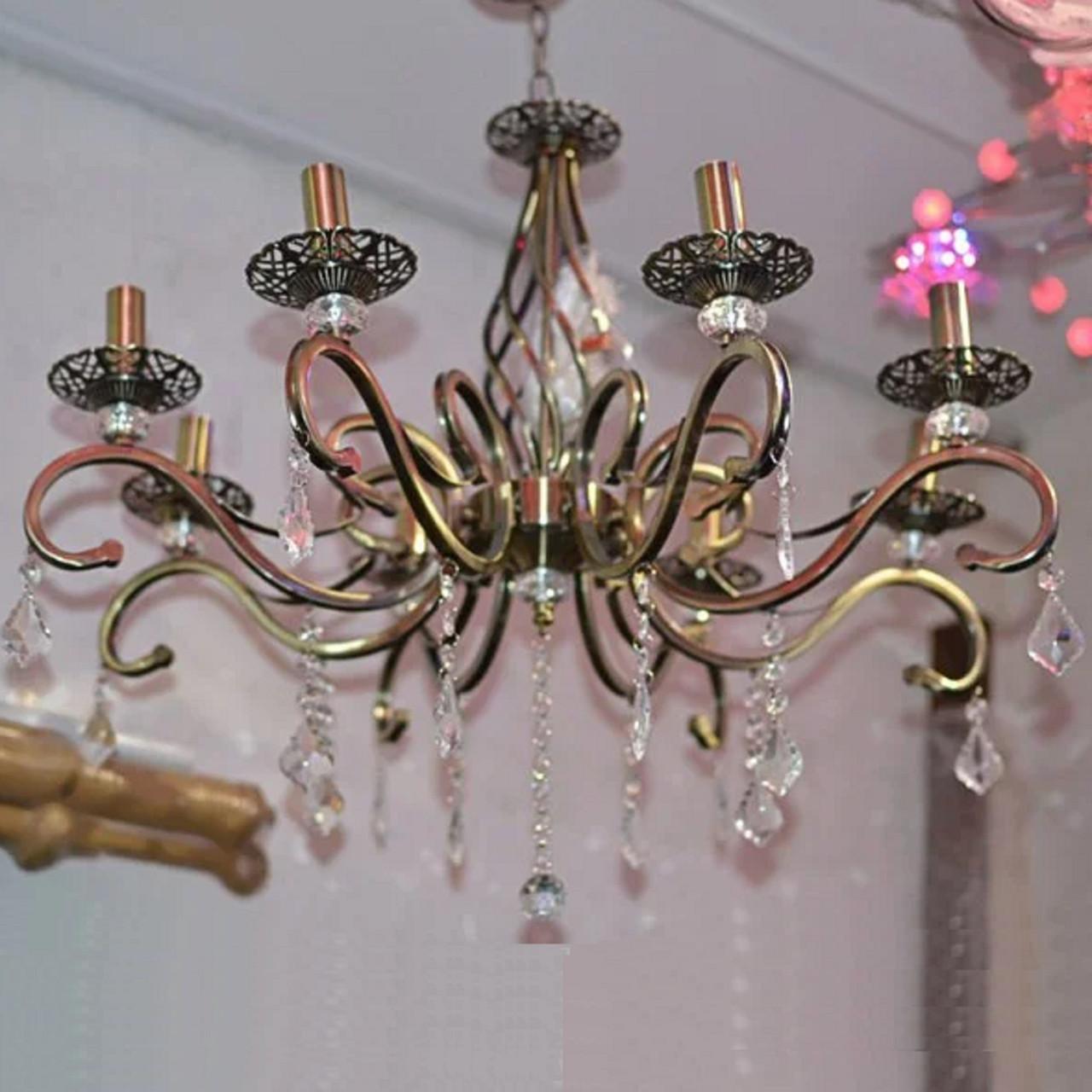 Люстра, 8 ламп, подвесная, на цепи, подсвечники
