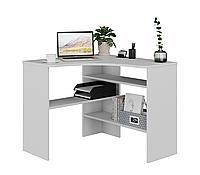 Стол письменный угловой, компьютерный стол  ТАВОЛО 1406 белый