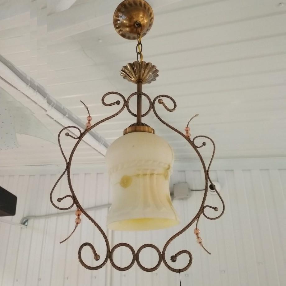 Люстра, 1 лампа, бронза