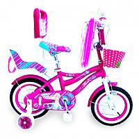 Детский двухколесный велосипед с ручкой  (от 2-х до 5-х лет) на 12 дюймов Flora