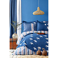 Набор постельное белье с покрывалом Karaca Home - Albatros lacivert 2020-1 синий евро