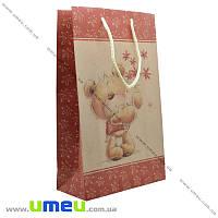 Подарочный пакет из крафт бумаги, 26х17х7 см, Мишка, 1 шт (UPK-019037)