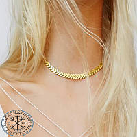 Колье ожерелье на шею золотое колосок цепочка чокер кулон Подвеска Панк кольэ