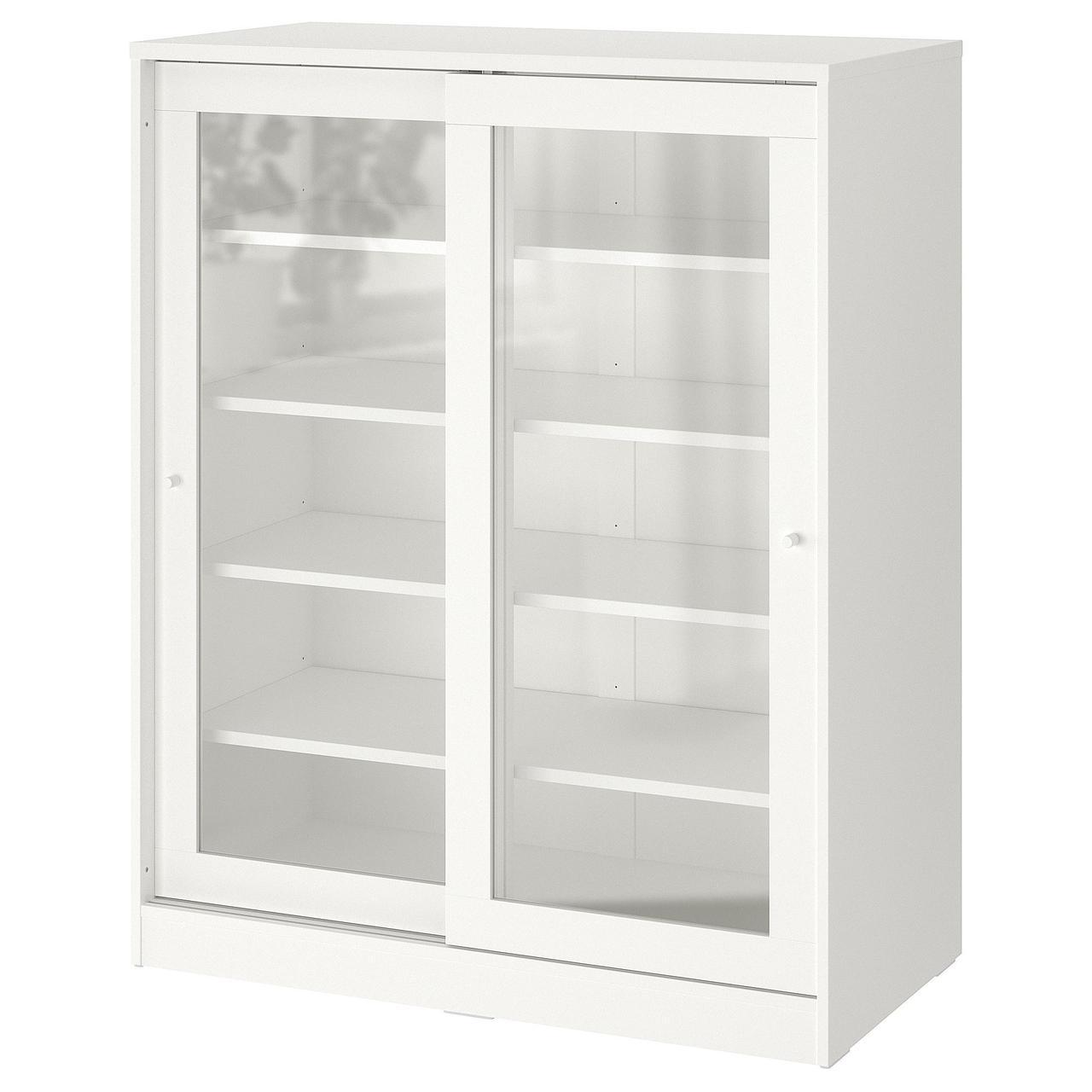 Шкаф со стеклянными дверцами IKEA SYVDE белый 100x123 см 304.395.65