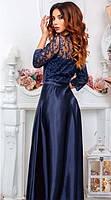 Длинное атласное вечернее платье в пол, фото 2