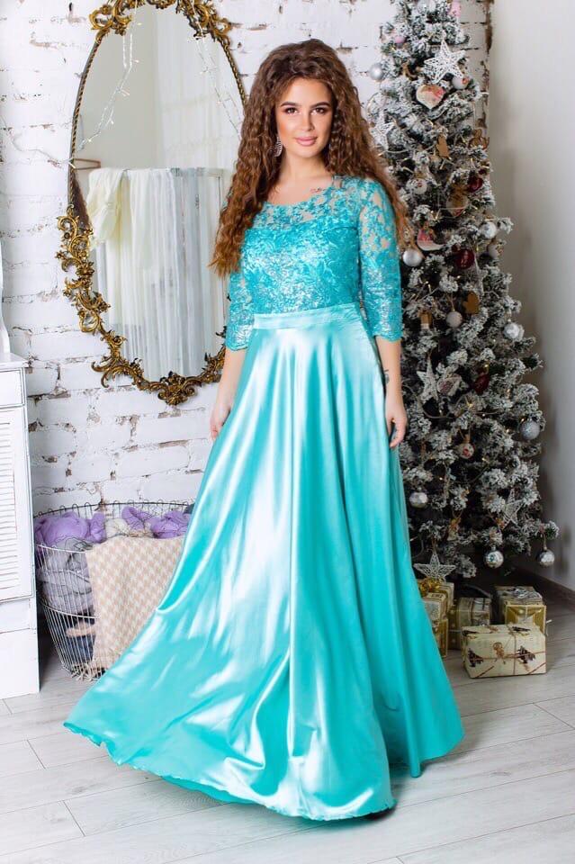 Платье вечернее длинное атлас