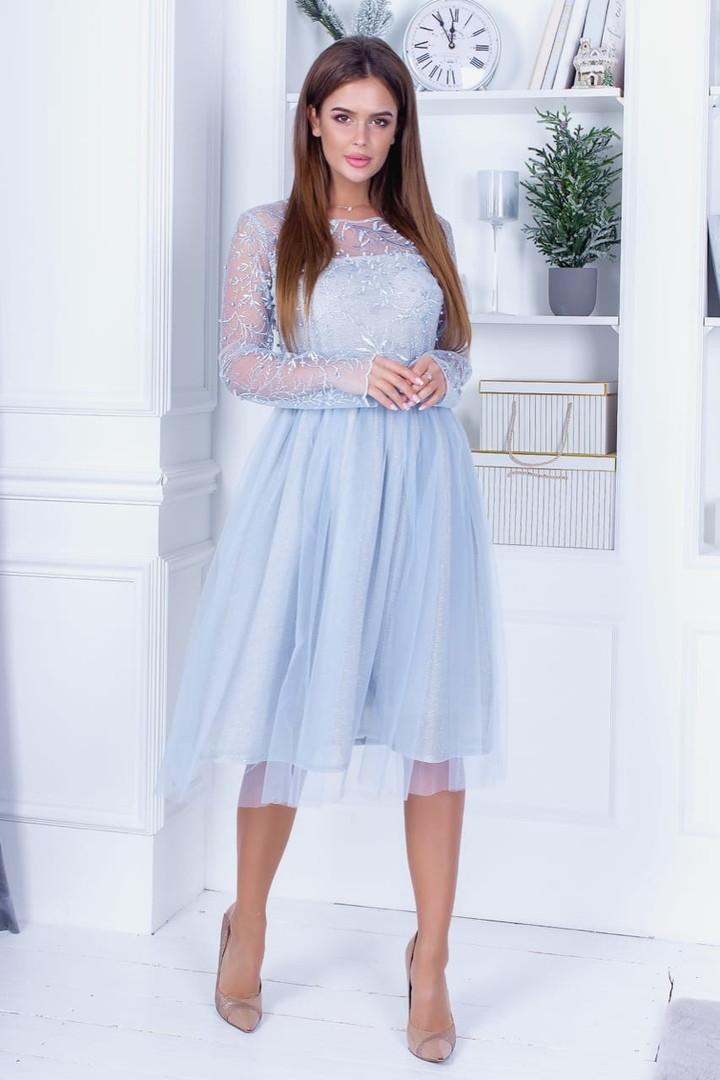 Платье миди с фатиновой юбкой вечернее нежно -голубой