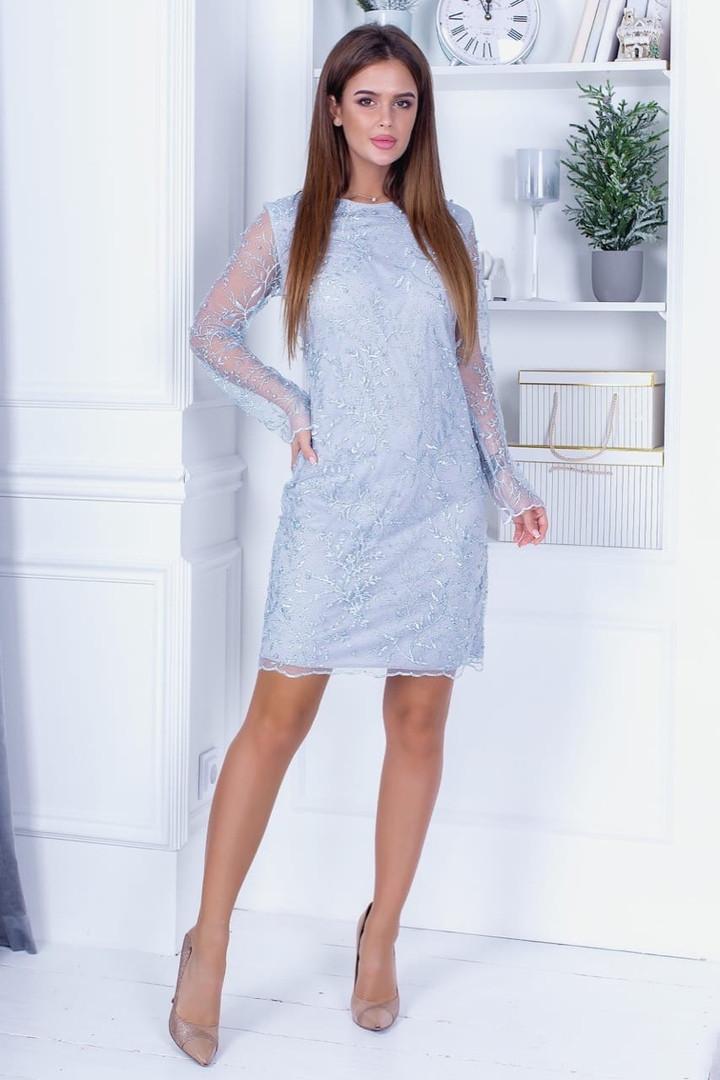 Платье вечернее с длинным рукавом сетка Нежно-голубое