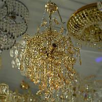 Люстра хрустальная, потолок, подвесная, очень красивая люстра, 4 лампы, золото