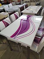 """Раскладной стол обеденный кухонный комплект стол и стулья рисунок 3д """"Сиреневая волна"""" стекло 70*110 Лотос-М, фото 1"""