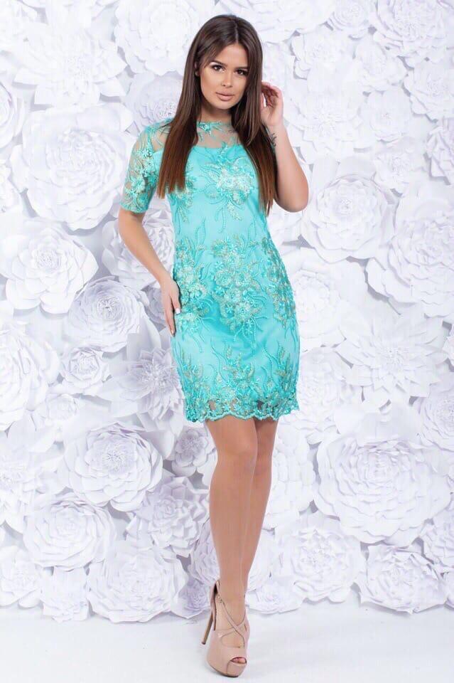 Платье вечернее короткое кружевное Ментол