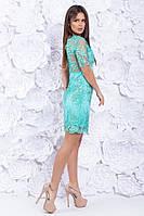 Платье вечернее короткое кружевное Ментол, фото 4