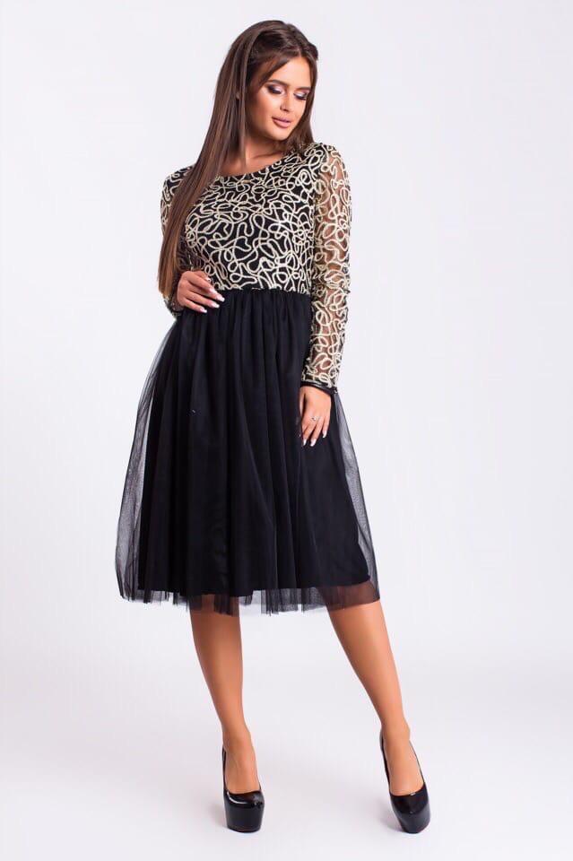 Платье вечернее с пышной фатиновой юбкой Черный