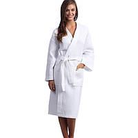 Вафельный халат Luxyart Кимоно, размер женский (42-44) S, 100% хлопок, белый (LS-038)