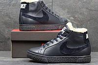Мужские зимние кроссовки Nike из натуральной кожи темно синие 3636