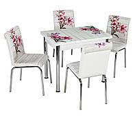 """Раскладной стол обеденный кухонный комплект стол и стулья рисунок 3д """"Красный букет"""" ДСП стекло 60*90 Лотос-М"""