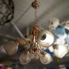 Люстра, 5 ламп, золото, розы