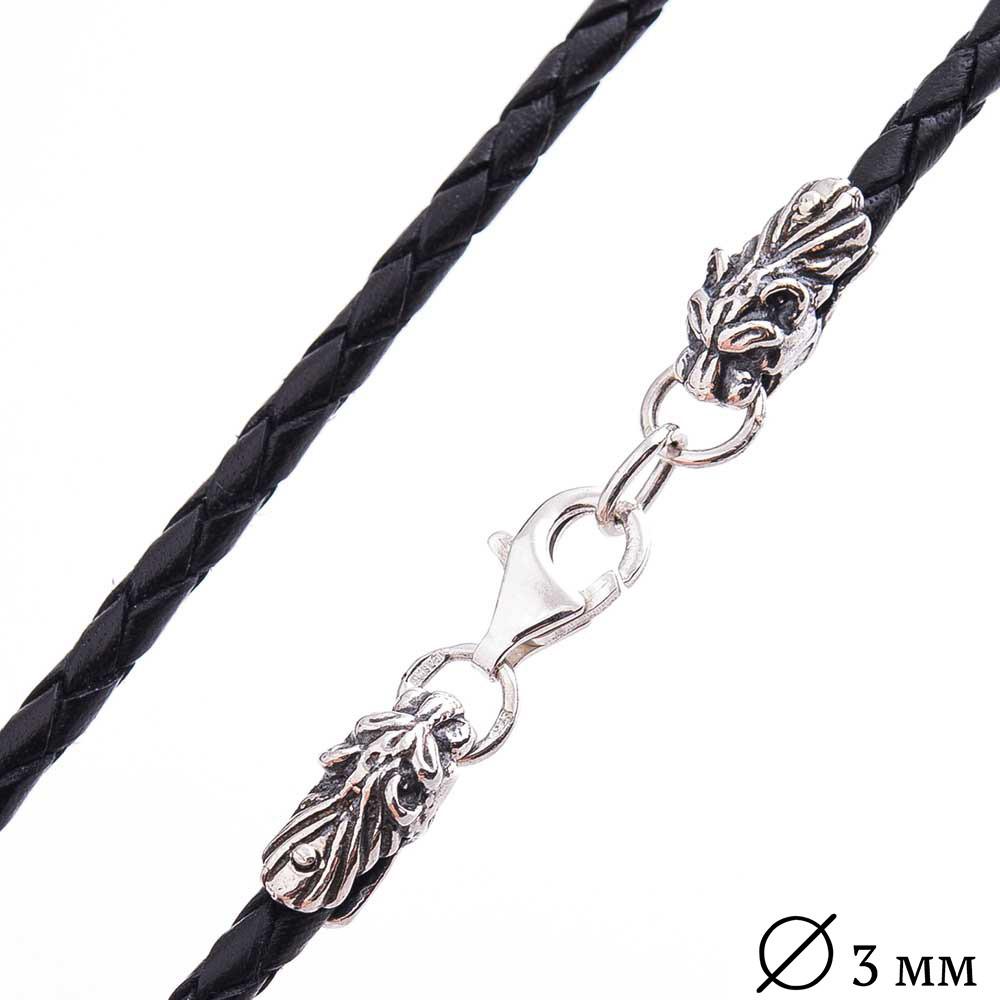 """Кожаный  шнурок GS  с серебряной застежкой """"Тигр"""" (3мм)"""