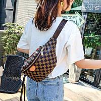 Женская поясная сумка Луи Виттон коричневая с черным