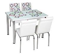 """Раскладной стол обеденный кухонный комплект стол и стулья рисунок 3д """"Цветной квадрат"""" стекло 70*110 Лотос-М"""
