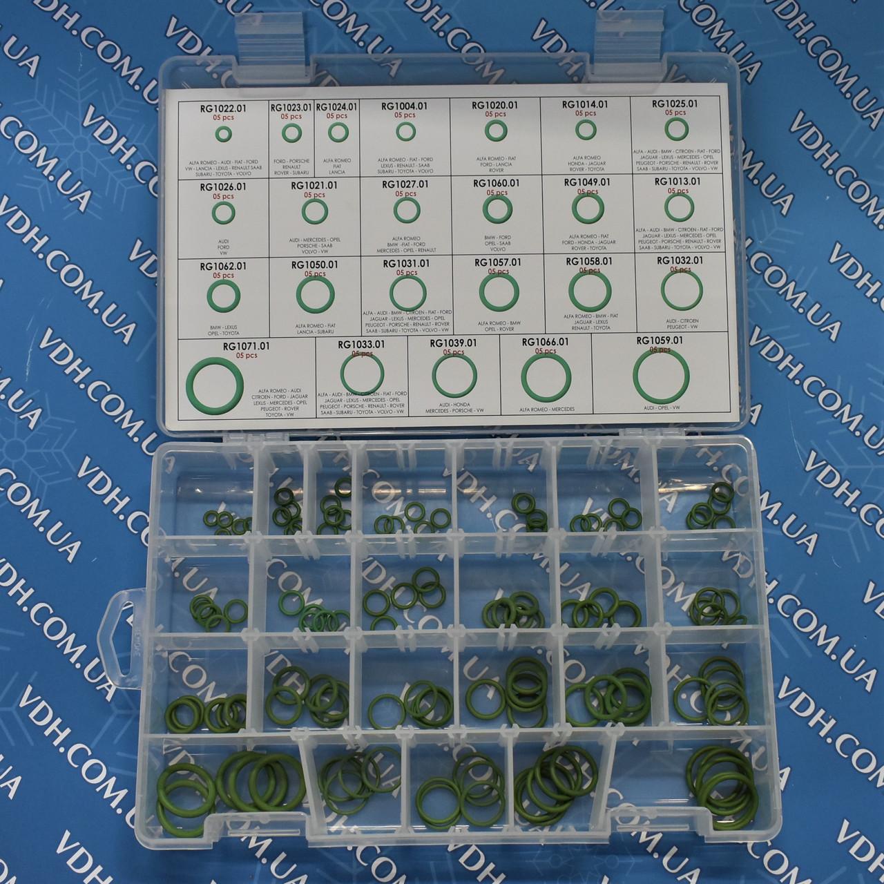 Набор резиновых прокладок, зеленые ( 120 штук по 5 прокладок каждого типа ) Errecom  RK 1048