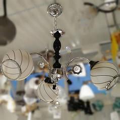 Люстра, 3 лампы, подвесная, белая с серебром