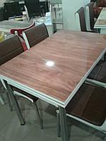 """Раскладной стол обеденный кухонный комплект стол и стулья 3D рисунок 3д """"Коричневый тон"""" стекло 70*110 Лотос-М, фото 1"""