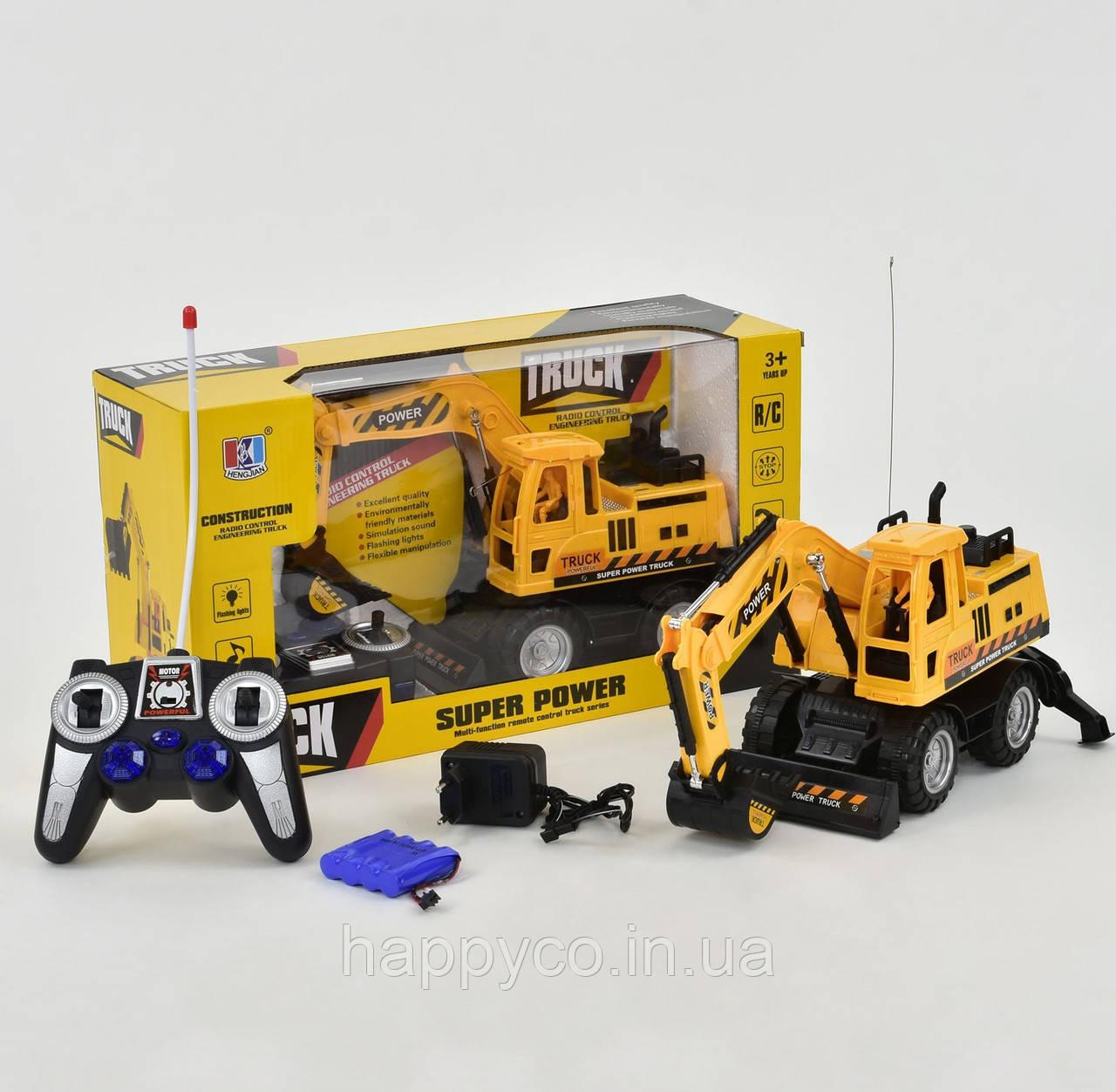 Детская машинка Экскаватор р/у  аккум 4,8 V, свет, звук,интерактивная игрушка (немного примята коробка)