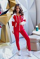 Женский спортивный костюм из двунитки Турция, кофта и штаны с карманами, на манжетах (42-54), фото 1