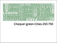 Стеклянные декоры для кухни, ванной, гостинной, салона, магазина, офиса Chequer-green-Cities