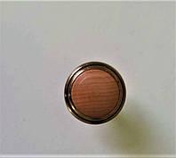 Мебельная ручка кнопка, дерево с золотым ободком, фото 1