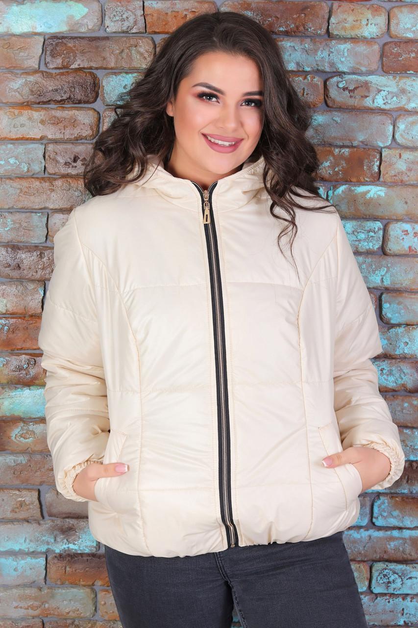Курточка стеганная с капюшоном Бежевая Большого размера