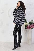 Полушубок женский в полоску Мех Искусственный Шиншила Большой размер, фото 2