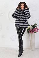 Полушубок женский в полоску Мех Искусственный Шиншила Большой размер, фото 4