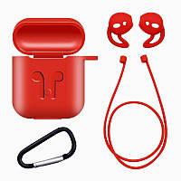 Защитный силиконовый чехол для AirPods Red с набором аксессуаров - 4 предмета. Набор аксессуаров для Airpods, фото 1