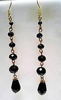 Серьги - черные из чешского хрусталя в подарок, фото 1