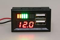 Вольтметр/тестер автомобильного аккумулятора с двумя USB портами/зарядками, фото 1