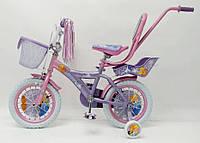 Детский двухколесный велосипед с ручкой  (на рост от 105 см) на 14 дюймов ICE FROZEN