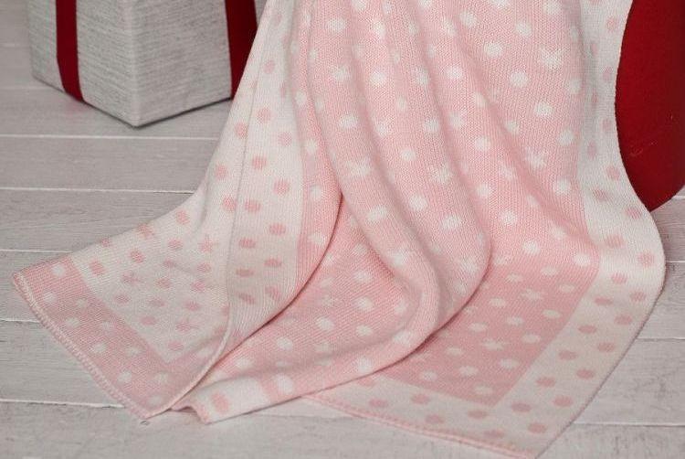 Плед вязаный в кроватку 90х90 BETIRES Dream Pink