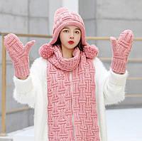 Женский вязаный комплект шапка, шарф и варежки IceBerry pink