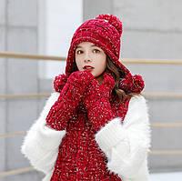 Женский вязаный комплект шапка, шарф и варежки IceBerry red