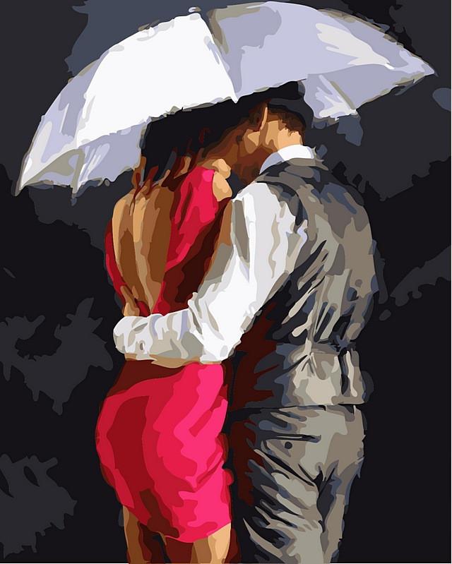 Раскраски для взрослых 40×50 см. Романтика под зонтом Художник Ричард Макнейл