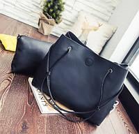 Женская сумка-шоппер с кошельком Luna black