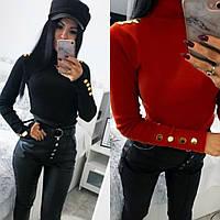 Гольф женский, повседневный,стильный, удобный, декор пуговицы, модный, стильный, мягкий, черный и красный, фото 1
