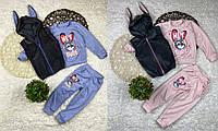 Детский костюм велюр+интерлок Зайка) Цвет только голубой, фото 1