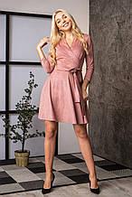 Замшевое платье цвета пудра с поясом