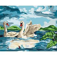 """Картина по номерам, холст на подрамнике, Лебеди """"Возле озера"""" 40*50 см, без коробки"""