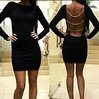 Платье женское, нарядное, вечернее, облегающее, с длинным рукавом, короткое,открытая спина с цепочками, модное